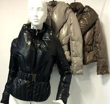 Piumino Blouson Jacket Gaia Rossi Donna corto collo ampio tortora nero marrone