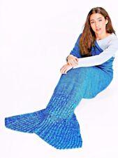 New Mermaid Tail Blanket Handmade Crocheted Cocoon Sofa Quilt Rug Knit Beach uk