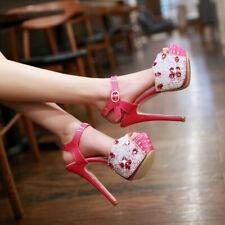 Women Platform High Heel Sandals Slingback Peep Toe Strap Rhinestone Party Shoes