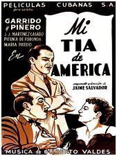 High Quality POSTER on Paper or Cotton Canvas.Cuban movie Mi tia de America.3946