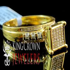 Real Diamond Cinderella Princess Cut  Bridal Wedding Engagement Ring Gold Finish