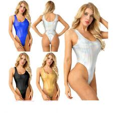 Women's Wet Look Metallic High Cut Holographic Thong Leotard Gymnastics Bodysuit