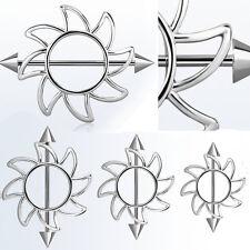 """14G (1.6mm)Sun Shaped Nipple Shield w/ Steel Barbell Piercing Silver 1/2"""" - 5/8"""""""