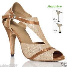 Ladies Women Rumba Samba Ballroom Latin Tango Salsa Dance Shoes Heels US5-9 Gold