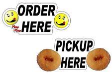 2 Mini Donuts Pickup Order Window' Decals for Lil Orbits Donuts Tom Thumb Stand