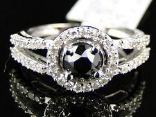 10K Ladies Womens White Gold Black Diamond Round Cut Solitaire Engagement Ring