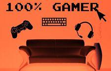 100% Gamer Gaming Decor Games Room Bedroom Vinyl Wall Sticker Art XXL