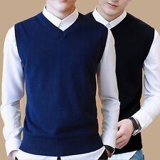 Men Sleeveless V Neck Sweater Jumper Pullover Knitted Tank Top Vest Waistcoat