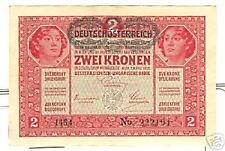 OLD AUSTRIA - HUNGARY REPUBLIC 2 KRONEN 1919 Unc.