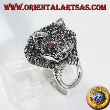 Anello d'argento 925 ‰  con marcasite Tigre sul cerchio