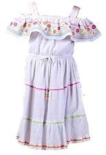JONA MICHELLE Girls Summer DRESS Cheesecloth Lined WHITE MULTI Peasant Sundress