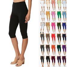 TheMogan Essential Basic Cotton Spandex Stretch Below Knee Capri Leggings S~3X