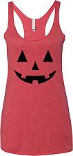 Ladies Halloween Black Jack O Lantern Tri Blend Racerback Tank