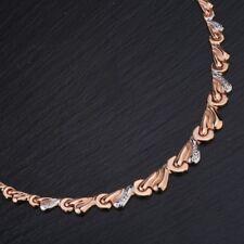 Kette Halskette Collier elegante Goldkette Rose Rotgold 585 rodiniert BICOLOR