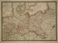 1828 Genuine Antique hand colored map of Prussia. A.H. Brue
