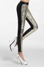 Legging paillettes SEQUIN  GOLD  OR imitation cuir Noir
