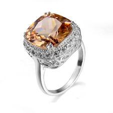 Jewelry Square Cut Natural Shiny Champange Topaz Gemstone Silver Ring Size 7 8 9