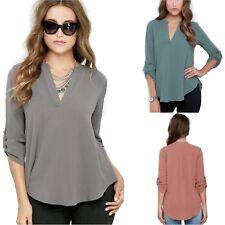Womens Long Cuffed Sleeve V-Neck Loose Fit Chiffon Blouse / Shirt UK Size 8 - 18