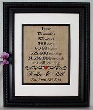 First Anniversary - Wedding Anniversary - Personalized - Burlap Wall Art