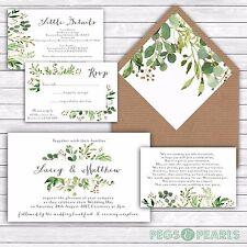 Personalised Luxury Rustic Wedding Invitations GREEN FOLIAGE/LEAVES packs of 10