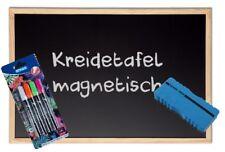 Kreidetafel magnetisch + 4 Marker+Schwamm Schultafel Naturholzrahmen Magnettafel