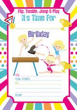 10 x Gymnastics Children Birthday Party Invitations or Thank you cards