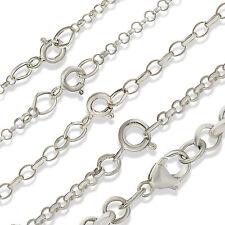 Plata esterlina 16 18 20 22 24 cadenas de eslabones redondos de Belcher sólido Colgante Collares