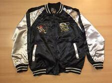 Sukajan Raijin and Fujin Japanese Souvenir Letterman Jacket Black/Beige BNWT