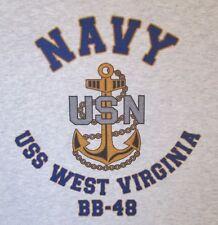 USS WEST VIRGINIA  BB-48* BATTLESHIP U.S NAVY W/ ANCHOR* SHIRT