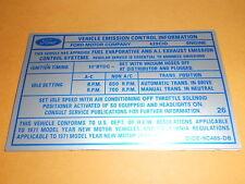 1971 FORD TORINO RANCHERO 429SCJ ENGINE EMISSIONS DECAL