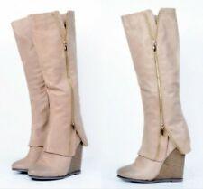 Women's Wedge Heels Round Toe Side Zipper Knee High Boots Cowgirl Shoes FK15
