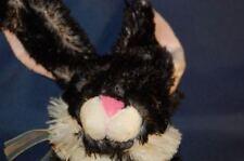 "Black  White BUNNY Rabbit  Carrot STUFFED ANIMAL 12"" Plush  FINE TOY LOVEY TOY"