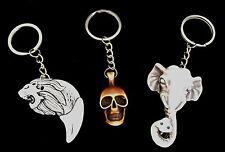 Faux Yak Bone Keyrings - Choice of Style, Skull, Lion Tooth,, Elephant - Gift