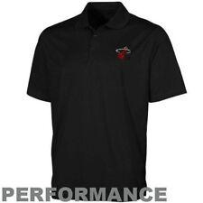 Miami Heat Stay Dry Polo Shirt Black High Performance Plus Sizes Majestic NBA
