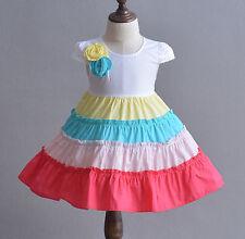 Cinda bebé niña CINCO color aro Niñas Algodón Vestido De Fiesta 9 12 18 24 meses
