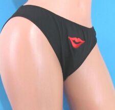 Men's Black embroidered Red Lips Sexy Sissy Bikini Panties underwear Sz M L XL