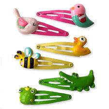 Set of Kids Animals Hair Snap Clips. 4+ Years. Present Gift Idea Birds Bee Duck