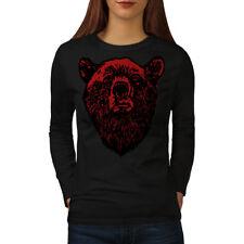 Red Bear Face Wild Animal Women Long Sleeve T-shirt New | Wellcoda