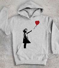 Felpa bambino BANKSY BALLON BALLOON GIRL bambina palloncino a cuore street art