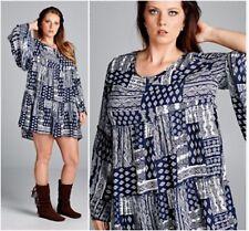 Cute Plus Size BoHo Gypsie Mini Dress Tunic 1X, 2X, -New!