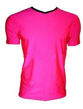 Para Hombre Neon Uv Brillante Lycra Rosa Cuello V Top T-Shirt Party Dress Up Club Rave