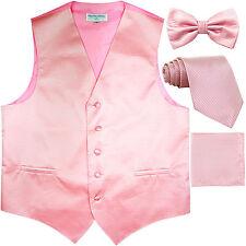 New men's vest waistcoat + bow tie + neck tie + hankie horizontal stripes pink