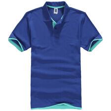 Mens Short Sleeve Polo Shirt Plain Top Designer Style Fit T-Shirt Blue Green