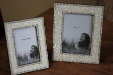 Wunderschöner Fotorahmen aus Holz mit Pailletten besetzt♥Bilderrahmen♥2 Größen
