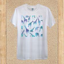 Giraffes Turquoise Blue Purple Doodle Tshirt Design 100% Cotton unisex women