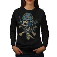 Wellcoda Pirate Skeleton Womens Sweatshirt, Crossbones Casual Pullover Jumper