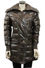 Piumino lungo da donna marrone Oho cappotto casual invernale moda tasche zip