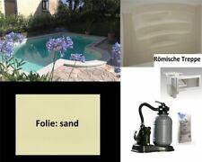 Pool Set Rechteckbecken mit Römertreppe P40 sand Styroporsteine Styroporpool
