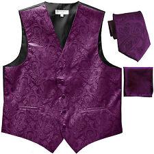 New Men's Formal Vest Tuxedo Waistcoat_necktie set paisley wedding prom purple