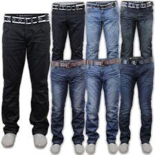 Hombre Vaquero Crosshatch Pantalones Cinturón Gratis Pierna Recta Diseñador